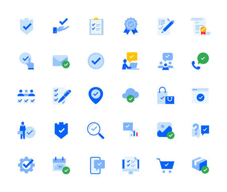 Check mark icons set for personal and business use. Stock Illustratie