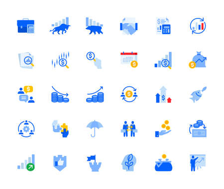 Money trading and investment icons set for personal and business use.