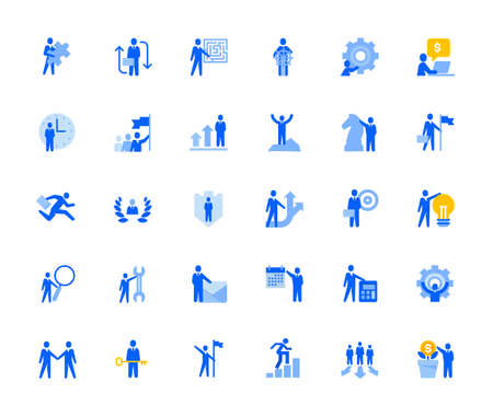 Business management icons set for personal and business use. Stock Illustratie
