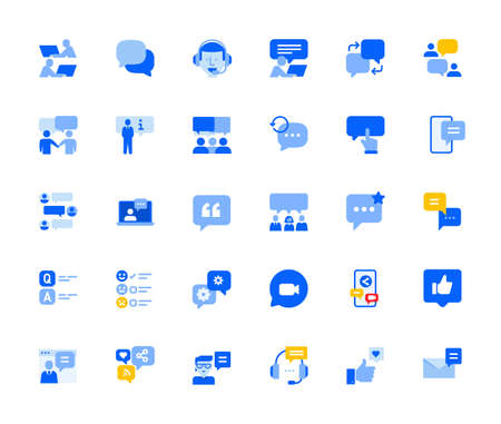 Online communication and networking icons set for personal and business use.
