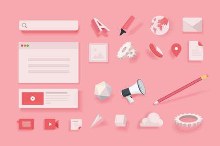Web elements for website design and development. Stock Illustratie