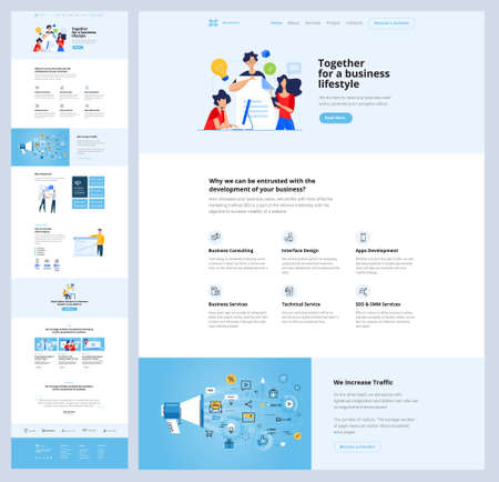 One page website design template. Vector illustration concept for web design and development on the topic of seo, app development, online business solutions.
