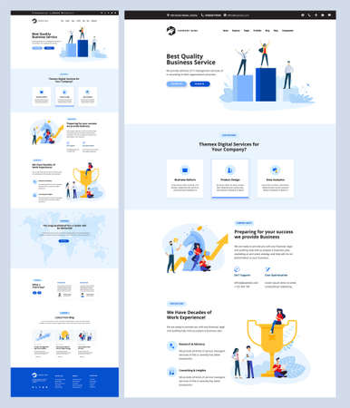 One page website design template. Vector illustration concept for web design and development on the topic of business success, digital services, data analytics, seo.