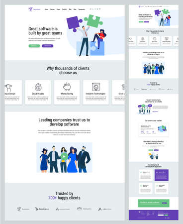 One page website design template. Vector illustration concept for web design and development on the topic of business app, IT solution, teamwork, market research. Stock Illustratie