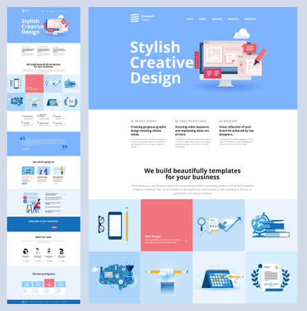 One page website design template. Vector illustration concept for web design and development on the topic of creative web templates, branding, video marketing, business strategy and seo.