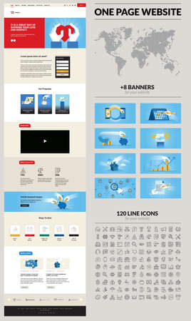 One page website design template. Set of vector illustrations and icons for web design and development. A complete solution for creating a web design. Stock Illustratie
