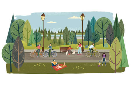 City park. Vector illustration on the topic of nature, healthy living, ecology, staying in nature, landscaping, recreation, travel for web banner and background, poster, card, marketing material.