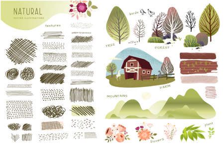 Nature, farming, agriculture set of graphic elements. Set of natural vector illustrations and textures on the topic of agriculture, countryside, natural landscapes, rural life, landscaping architectur