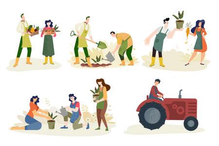 Organic farming, agriculture and gardening. Stock Illustratie