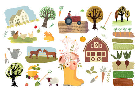 Organic farming, agriculture and gardening. Set of vector illustration elements of organic food production, agronomy, nature, country life for graphic and web design.