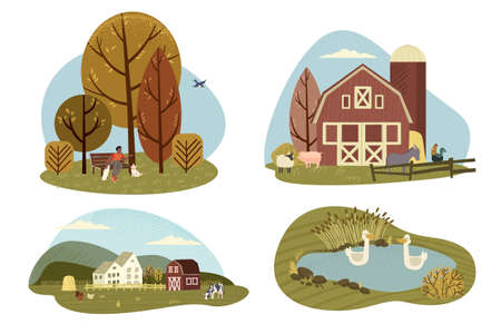 Organic farming, agriculture and gardening. Vector illustrations of rural motifs for web banners and background, poster, cards, business presentation, marketing material.