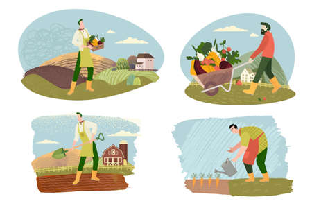 Organic farming, agriculture and gardening. Vector illustrations of organic food production, for web banners and background, poster, business presentation, marketing material for food market.