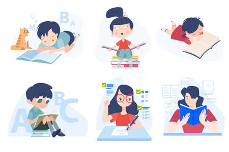 Back to school. Flat design concepts of education, e-learning, school, online courses and training. Vector illustrations for website banner, marketing material, presentation template, online ads. Stock Illustratie