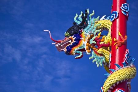 dragon in blue sky Stock Photo