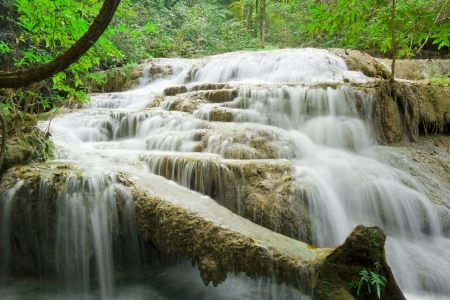 Erawan waterfalls in Kanchanaburi province in Thailand photo