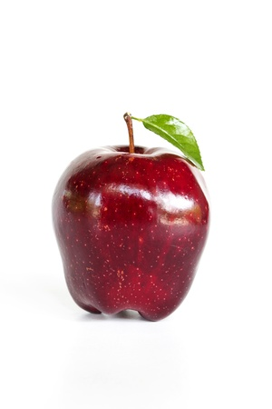 Red apple with leaf on white background Stock Photo - 19244344