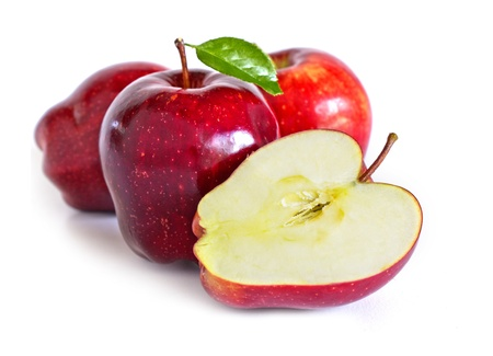 Red Apples three and half Stock Photo