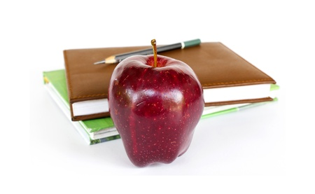 Stack of books with an apple Stock Photo - 19244340