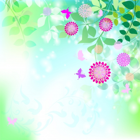 Spring background with transparent leaves
