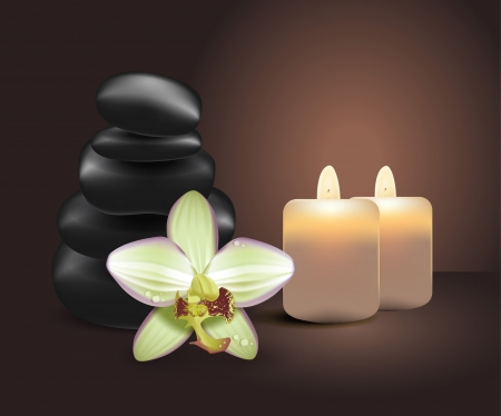 Realistic orchid, massage stones, candles