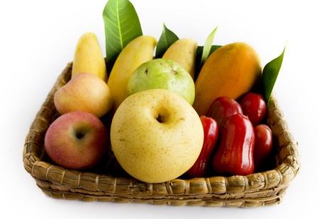 Fruit mix over white background Stock Photo