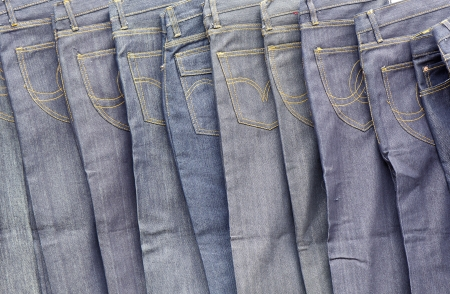 Blue jeans in a clothing store