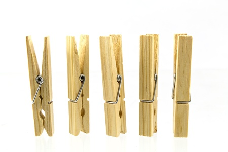 Wooden Clothes Pins isolated on white