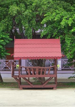 Wooden Thailand pavilion in the garden