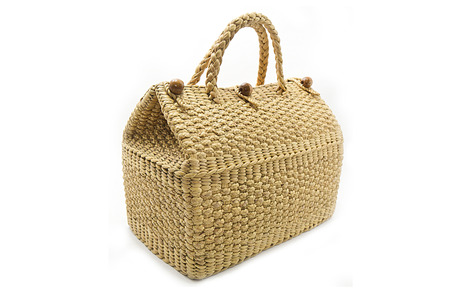 Handbag made from dry Water hyacinth on white background Stock Photo