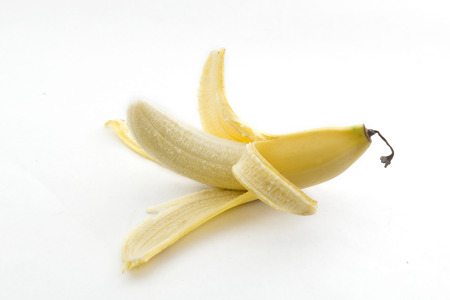 A vibrant banana on a white background