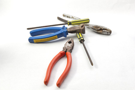 Flat-nose pliers on a white background Stock Photo
