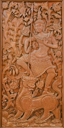 classic art: Ancient golden teak carving in Thai classic art style