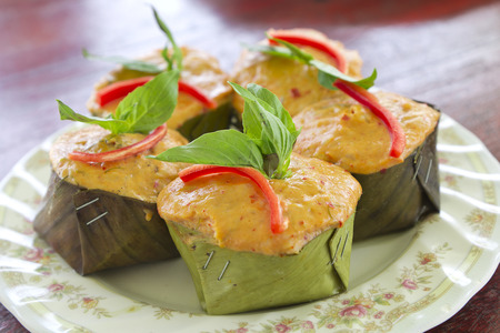 Steamed curried fish, Thai food Stock Photo