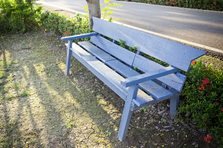 Blue benches in the summer park