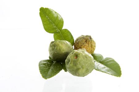 Bergamot and kaffir lime leaves on white background Stock Photo