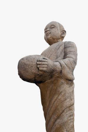 Buddhist novice on isolated background photo