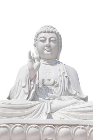 White Buddhist with isolated background photo