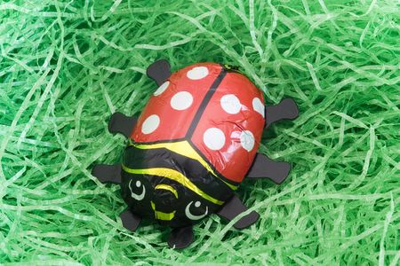 nosh: A chocolate ladybug in an Easter nest Stock Photo