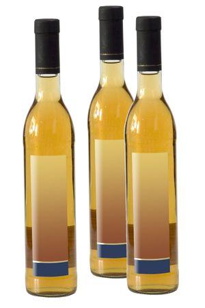 sake: Tres botellas de sake aislados en blanco