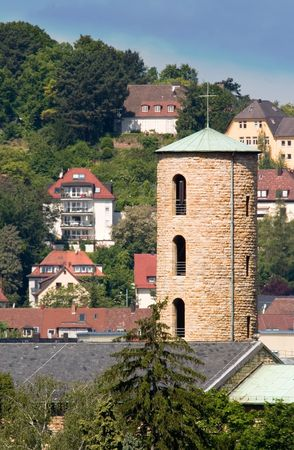 arial view: Arial view of a small church in Stuttgart Stock Photo