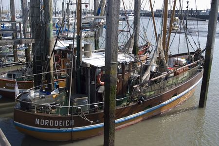 shrimp boat: Frisian shrimp catching boat Stock Photo