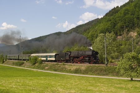 Historic high speed steam train 01-519 on the tracks of the Stock Photo - 2946261