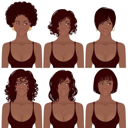 Ilustración del vector de las mujeres negras grandes caras para los avatares, los estilos de pelo de las mujeres afroamericanas