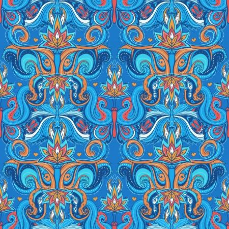ペルシア: 花のペイズリー インド ベクトル カラフルな華やかなシームレス パターン  イラスト・ベクター素材