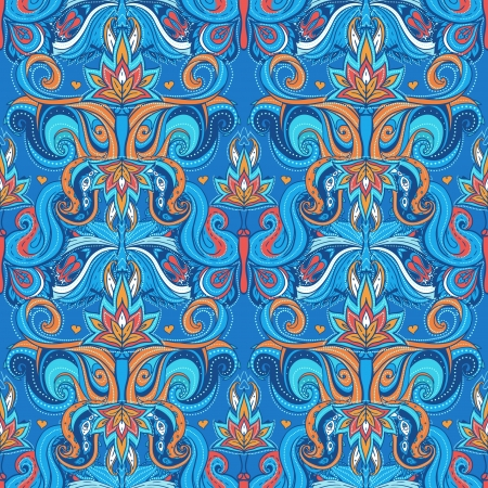 indian summer: Floral paisley indian vector colorful ornate seamless pattern Illustration