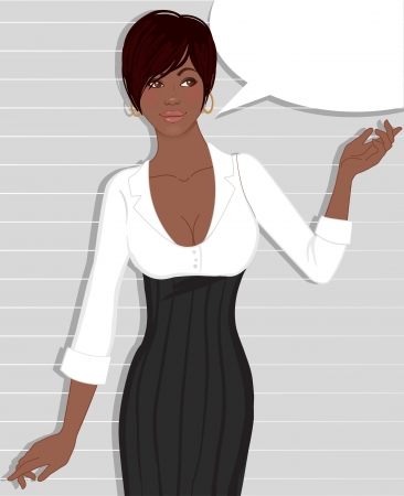 Beautiful african american business woman standing near blank speech bubble on gray striped background
