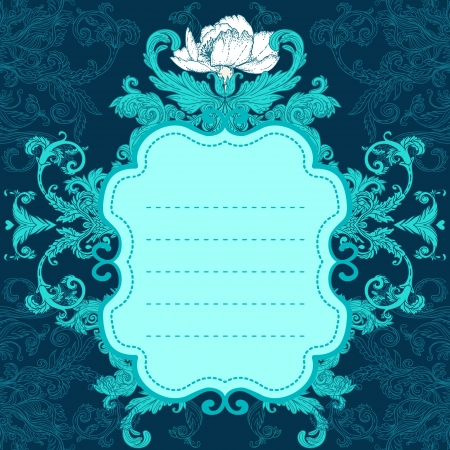 Invitation vintage card  Wedding or Valentine s Day  Vector illustration in turquoise colors  Vector