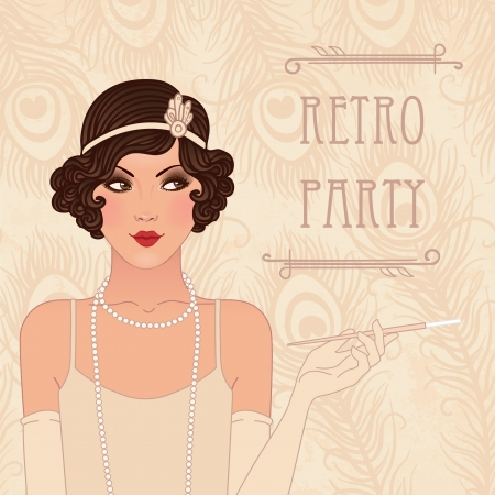 vintage postcard: Retro party invitation design Illustration