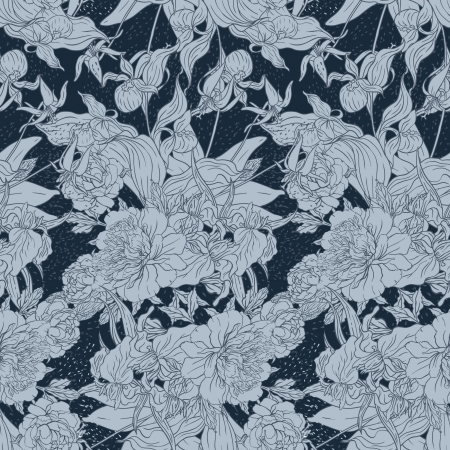 Seamless pattern with peonies Vector