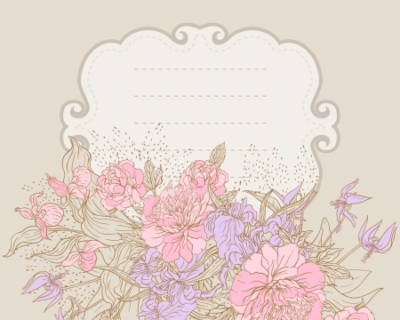 Vector floral frame with peony Vector